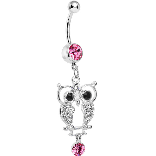 Pink Gem Woodland Hollow Owl Dangle Belly Ring