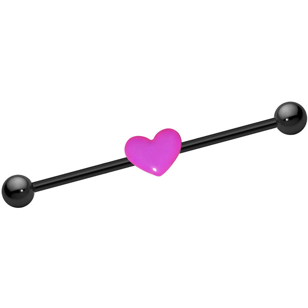 14 Gauge Black Titanium Pink Heart Industrial Barbell 37mm