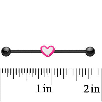 14 Gauge Black Titanium Pink and White Heart Industrial Barbell 37mm