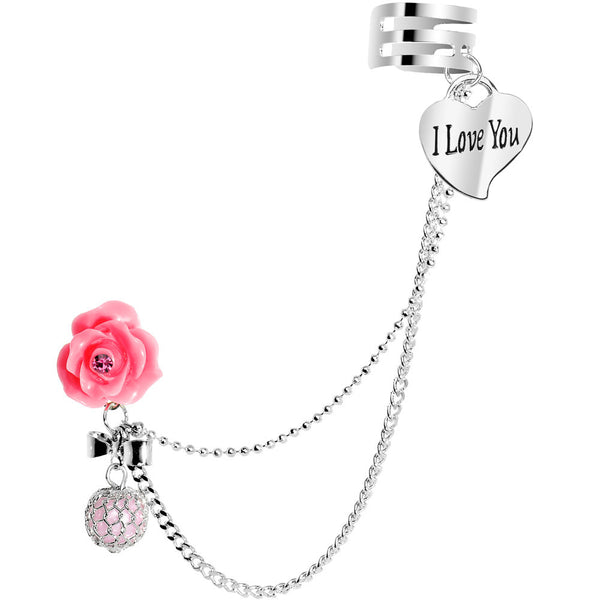 Pink Rose Flower Faux Pink Pearl I Love You Heart Ear Cuff Chain Post Earring