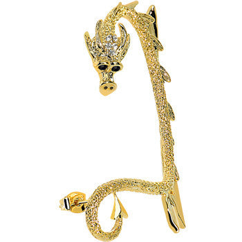 18KT Gold Plated Clear Gem Fierce Dragon Wrap Ear Cuff