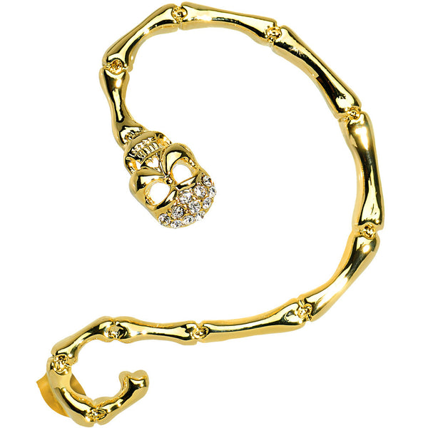 18KT Gold Plated Clear Gem Sinister Skull Snake Wrap Ear Cuff