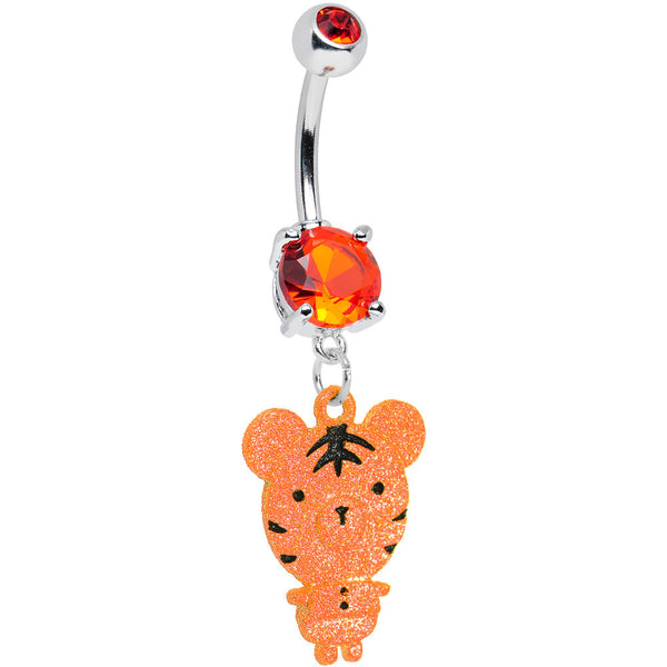 Orange Gem Orange Neon Adorable Baby Tiger Dangle Belly Ring