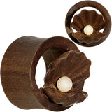 3/4 Organic Sabo Wood Mother of Pearl Hand Carved Plug Set