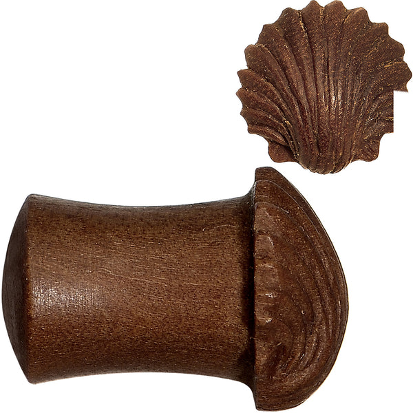 0 Gauge Organic Sabo Wood Ariel's Shell Hand Carved Plug Set