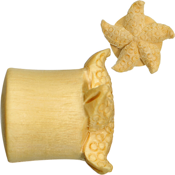 9/16 Organic Crocodile Wood Starfish Treasure Hand Carved Plug Set