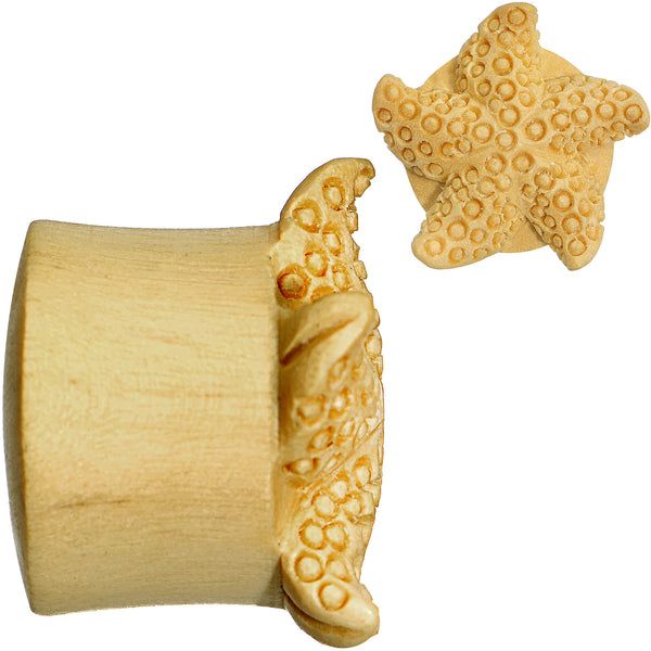 3/4 Organic Crocodile Wood Starfish Treasure Hand Carved Plug Set