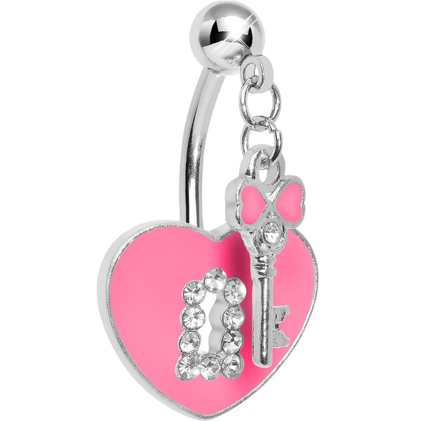 Double Mount Pink Key To My Heart Belly Ring