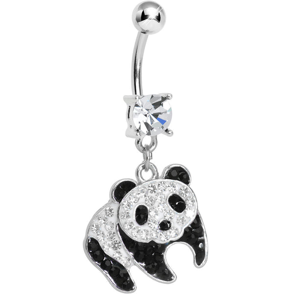 Clear Gem Precious Panda Bear Dangle Belly Ring