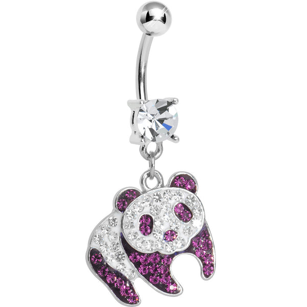 Clear Gem Pink Precious Panda Bear Dangle Belly Ring