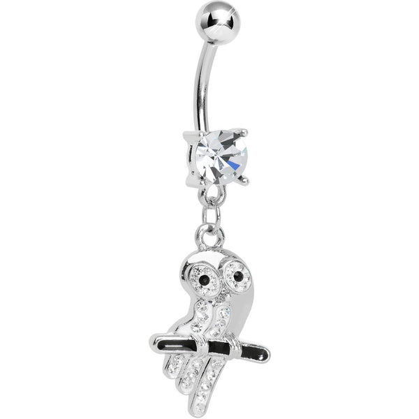 Clear Gem Oddly Adorable Owl Dangle Belly Ring