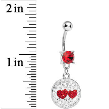 Red Clear Gem Paved Perfect Match Hearts Dangle Belly Ring
