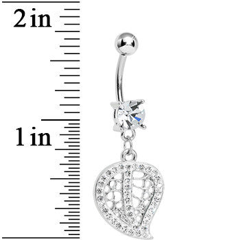 Clear Gem Paved Hollow Leaf Dangle Belly Ring