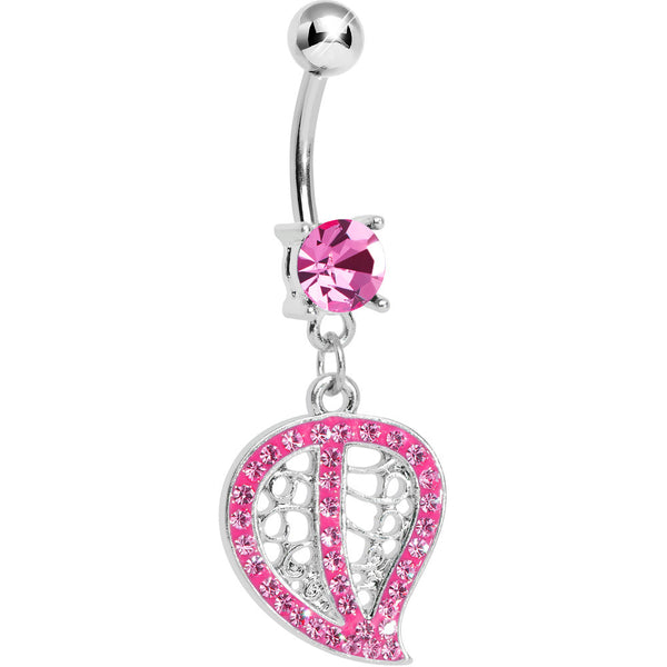 Pink Gem Paved Hollow Leaf Dangle Belly Ring