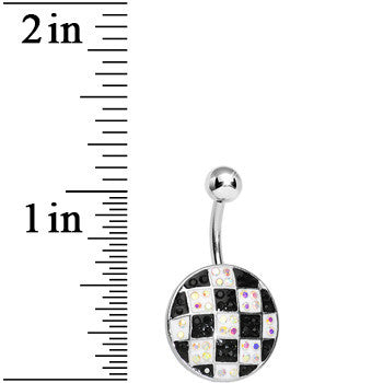 Round Black and White Checkerboard Belly Ring