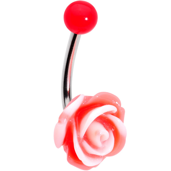 Pink Beautiful Blooming Stone Flower Rose J-Bar Belly Ring