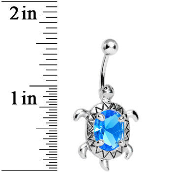 Aqua Blue Cubic Zirconia Sea Turtle Belly Ring