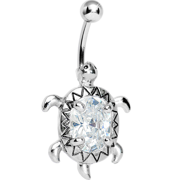 Crystal Clear Cubic Zirconia Sea Turtle Belly Ring