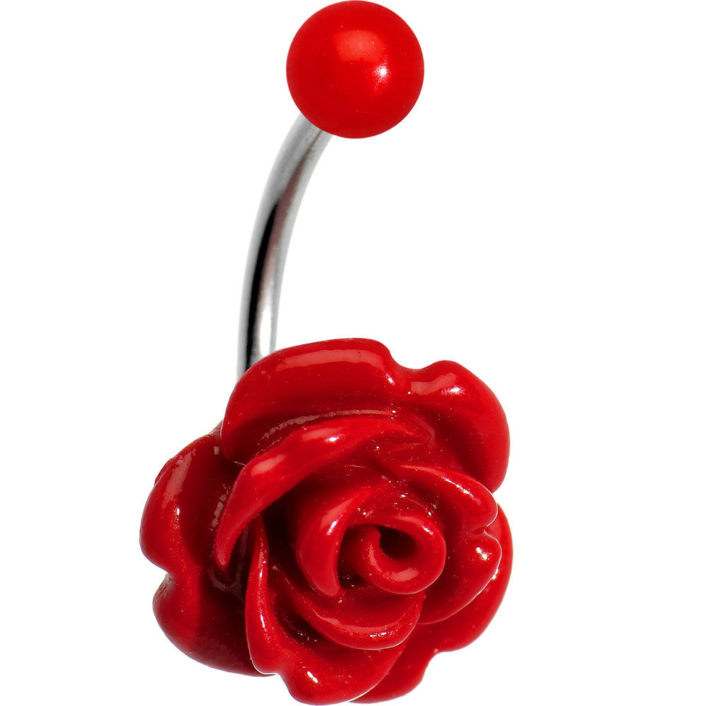Red Beautiful Blooming Stone Flower Rose J-Bar Belly Ring