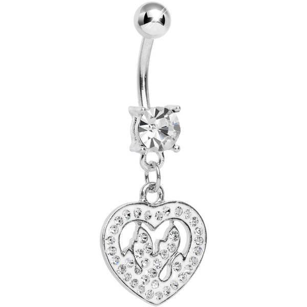 Crystalline Gem Paved Fiery Heart Dangle Belly Ring