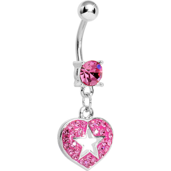 Pink Gem Superstar Heart Dangle Belly Ring