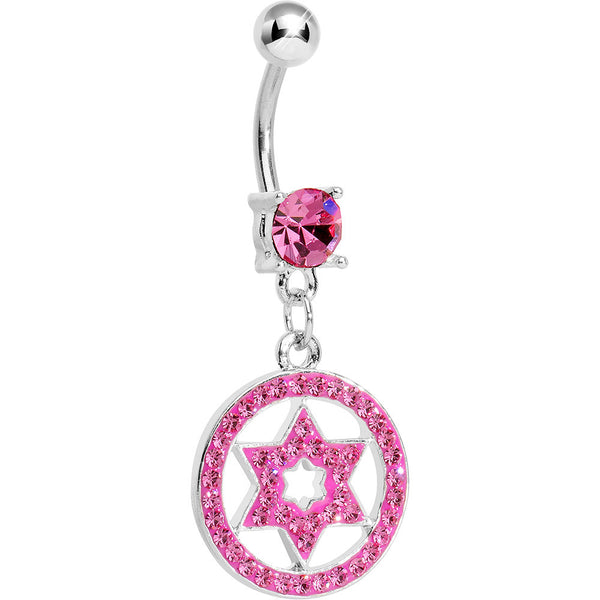 Pink Gem Paved Enclosed Star of David Dangle Belly Ring