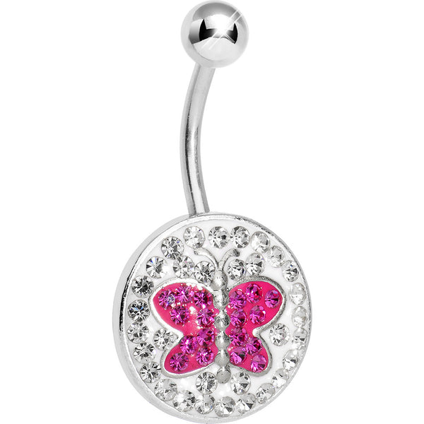Crystalline Gem Disc and Pink Gem Paved Butterfly Belly Ring
