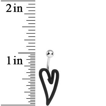 Jet Black Modern Art Heart Belly Ring