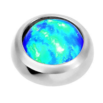 4mm Anodized Titanium Round Blue Faux Opal Dermal Anchor Top