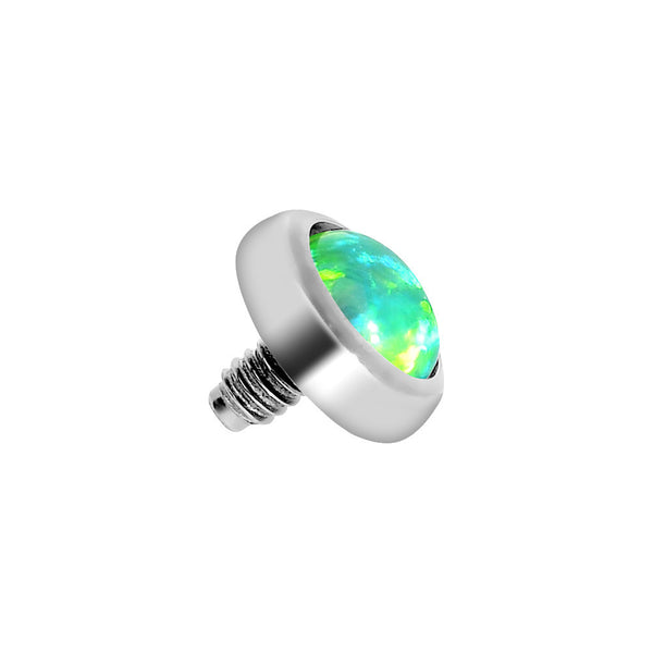 4mm Anodized Titanium Round Lime Green Faux Opal Dermal Anchor Top