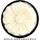 "3/4"" Organic Buffalo Horn White Bone Pollen Flower Saddle Plug"