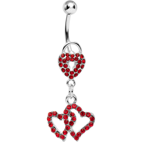Red Gem Triple Amorous Hearts Dangle Belly Ring
