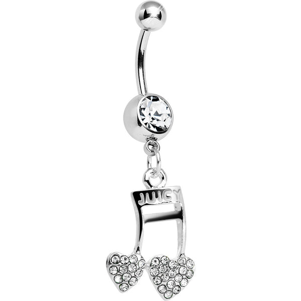 Clear Gem Paved Music Note Hearts Dangle Belly Ring