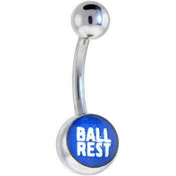 Blue and White BALL REST Logo Belly Button Ring