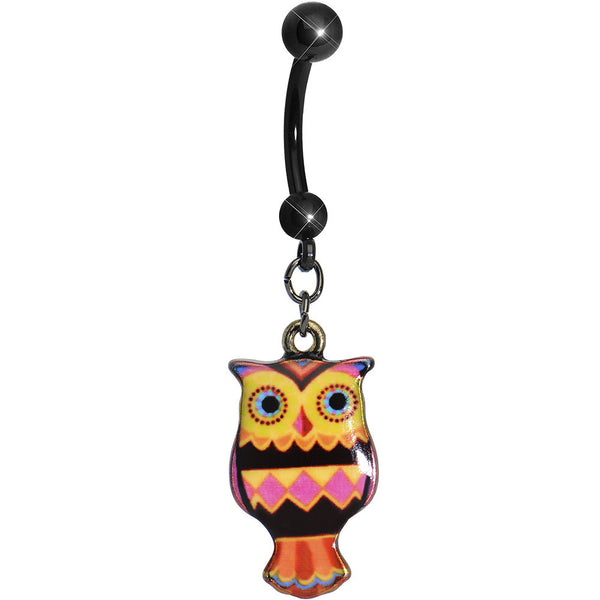 Pink and Yellow Patchwork Artistic Owl Dangle Belly Ring