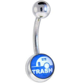 Blue and White TRAILER TRASH Logo Belly Button Ring