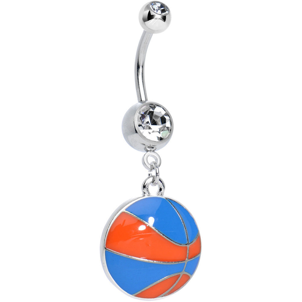 Clear Gem Orange And Blue Dribble The Basketball Dangle Belly Ring