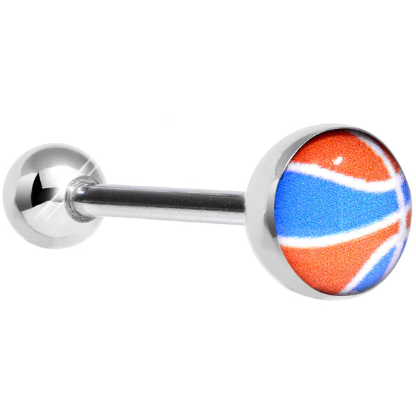 14 Gauge Orange and Blue Dribble the Basketball Tongue Ring 5/8