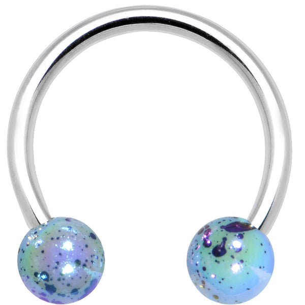 16 Gauge Blue Speckled Cosmos Horseshoe Circular Barbell 3/8