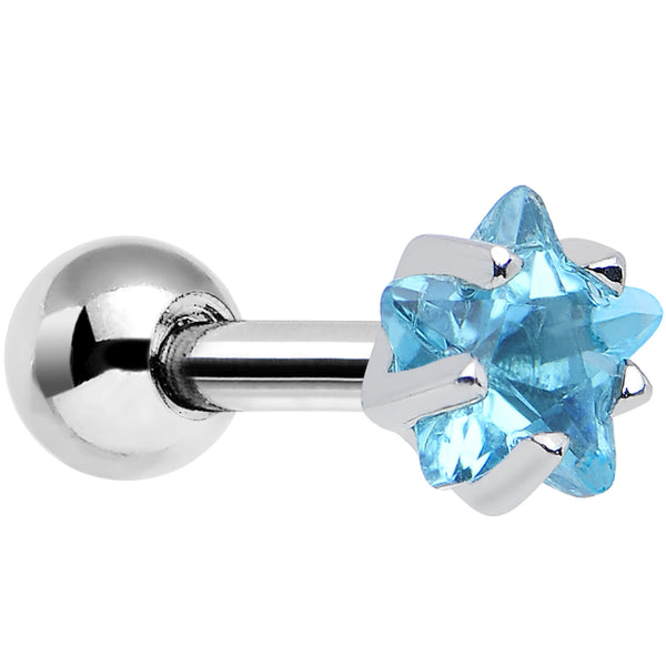 4mm Aqua Cubic Zirconia Star Cartilage Tragus Earring
