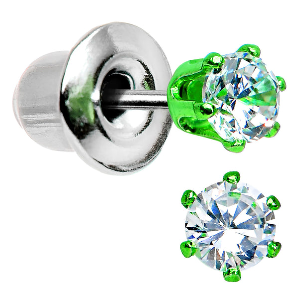 3mm Neon Green Round Clear CZ Stud Earrings