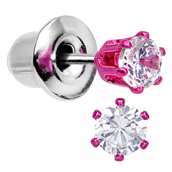 3mm Neon Pink Round Clear CZ Stud Earrings