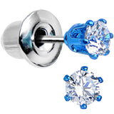 3mm Neon Blue Round Clear CZ Stud Earrings