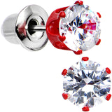 5mm Neon Red Round Clear CZ Stud Earrings