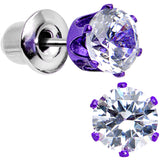 5mm Neon Purple Round Clear CZ Stud Earrings