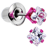 3mm Neon Pink Square Clear CZ Stud Earrings