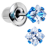 3mm Neon Blue Square Clear CZ Stud Earrings