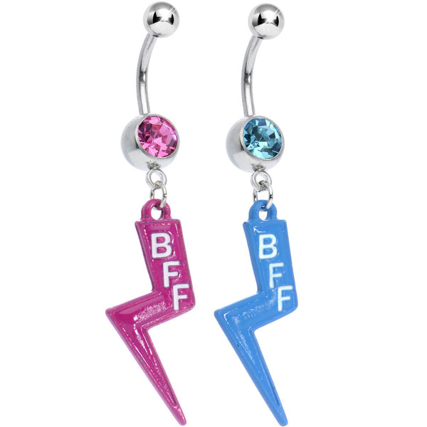 Pink and Aqua Gem Best Friends Lightning Bolt Dangle Belly Ring Set