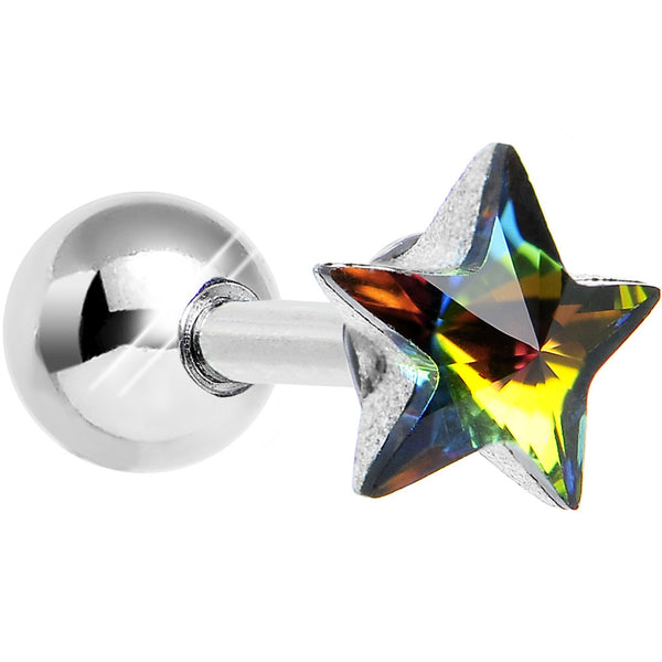18 Gauge 1/4 Multicolored Gem Gleaming Star Tragus Cartilage Earring