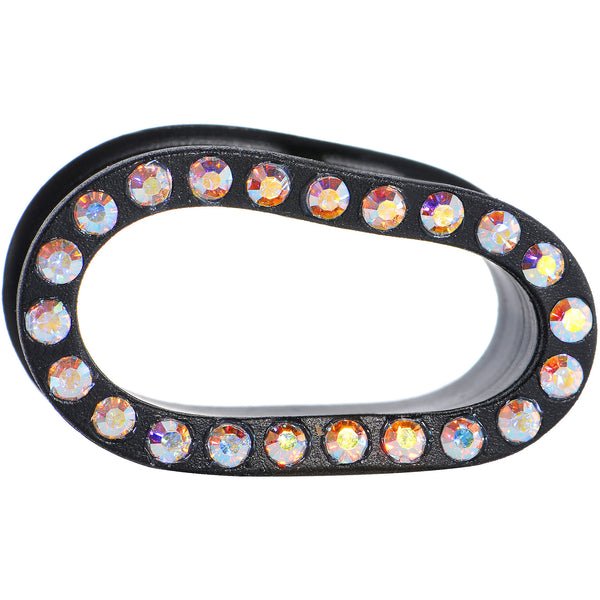 1/2 Aurora Gem Black Silicone Double Flare Tunnel